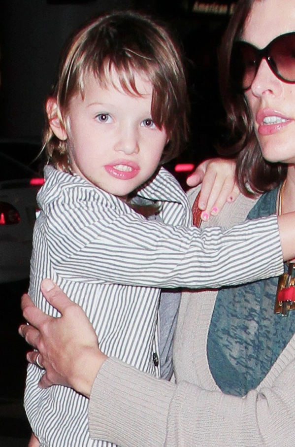 Milla Jovovich and family return to LA after a Holiday in Maui